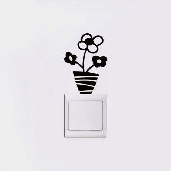 DSU Small Potted Flowers Switch Sticker Cartoon Plant Vinyl Wall Sticker for Kids Room - BLACK 11.5 X 8 CM