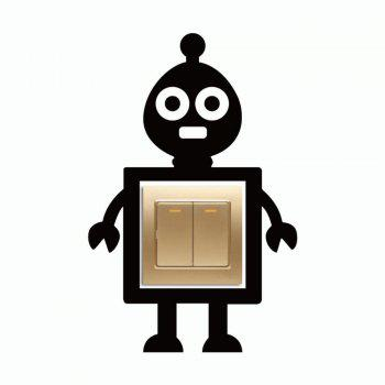 DSU Cute Toy Alien Surround Light Switch Sticker Creative Cartoon Robot Vinyl Wall Decal - BLACK 28 X 18.3 CM