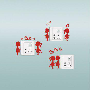 DSU  3Pcs Creative Love Trilogy Switch Sticker Cartoon Silhouette Vinyl Wall Sticker - RED 12 X 28 CM