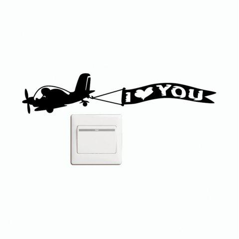 DSU  Creative Love Aircraft Switch Sticker Cartoon Vinyl Wall Sticker Home Decor - BLACK 10.6 X 19 CM