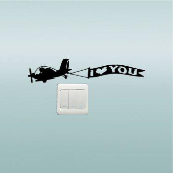 DSU  Creative Love Aircraft Switch Sticker Cartoon Vinyl Wall Sticker Home Decor - BLACK BLACK