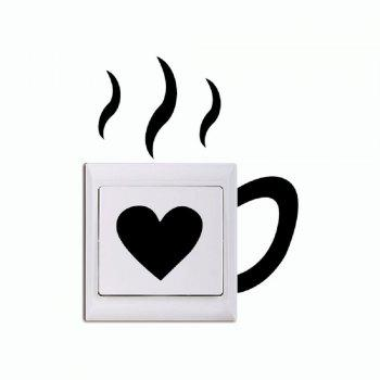 DSU Creative Love Cup Switch Sticker Funny Cup Silhouette Vinyl Wall Decal - BLACK BLACK