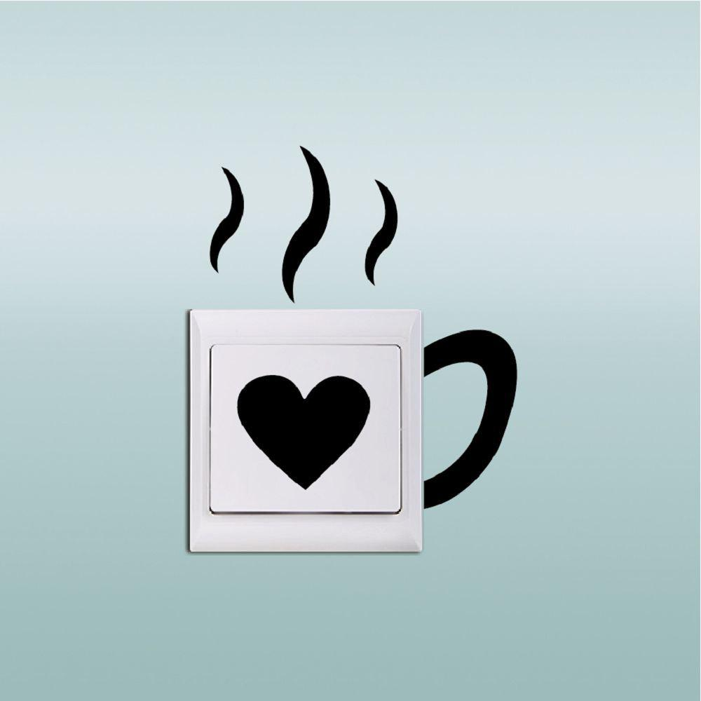 DSU Creative Love Cup Switch Sticker Funny Cup Silhouette Vinyl Wall Decal - BLACK 11.9 X 8 CM