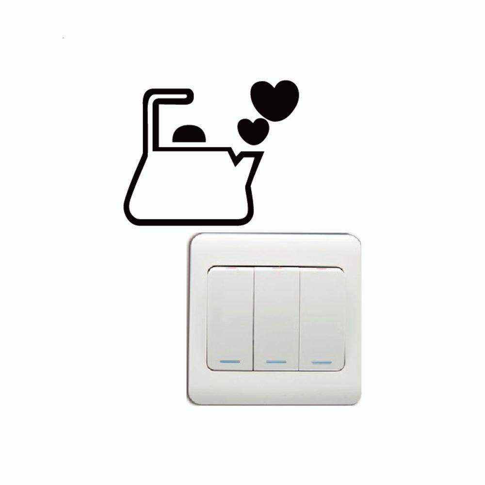 DSU Creative Love Kettle Vinyl Switch Sticker Funny Cartoon Kettle Vinyl Wall Sticker - BLACK 6.6 X 8 CM