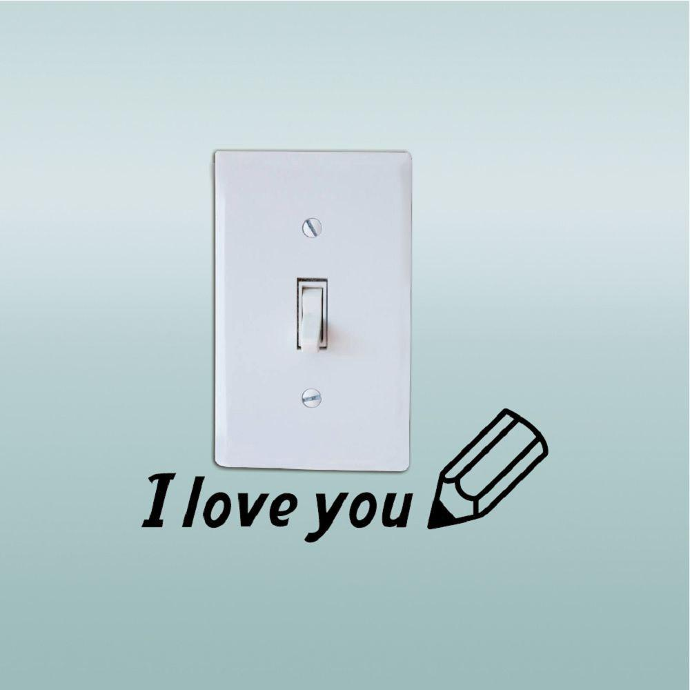 DSU  I Love You Switch Sticker Creative Text Vinyl Wall Sticker Home Decor - BLACK 5.3 X 16 CM