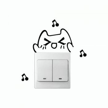 DSU Lovely Cat Singing Switch Sticker Funny Cartoon Animal Vinyl Wall Sticker - BLACK 7.3 X 9 CM
