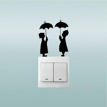 DSU Lovers In The Rain Switch Sticker Creative Lovers Silhouette Vinyl Wall Sticker - BLACK BLACK