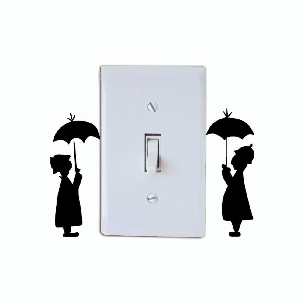 DSU Lovers In The Rain Switch Sticker Creative Lovers Silhouette Vinyl Wall Sticker - BLACK 9.5 X 7.6 CM