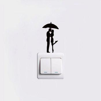DSU  Lovers in The Rain Switch Sticker Romantic Lover Vinyl Wall Decal for Wedding Room - BLACK 9.2 X 4.9 CM