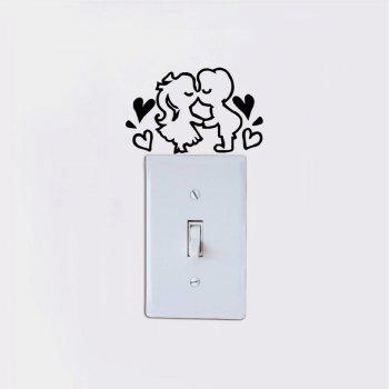 DSU  Romantic Kissing Lover Light Switch Sticker Creative Cartoon Couple Vinyl Wall Decal - BLACK 6.6 X 10.6 CM