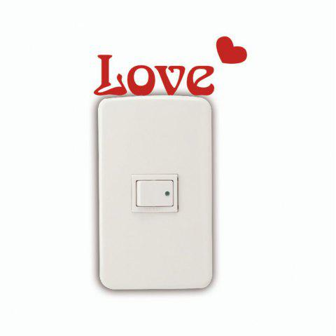 DSU  Romantic Love Vinyl Switch Sticker for Bedroom Wedding Room Home Decor - RED 3.8 X 10 CM