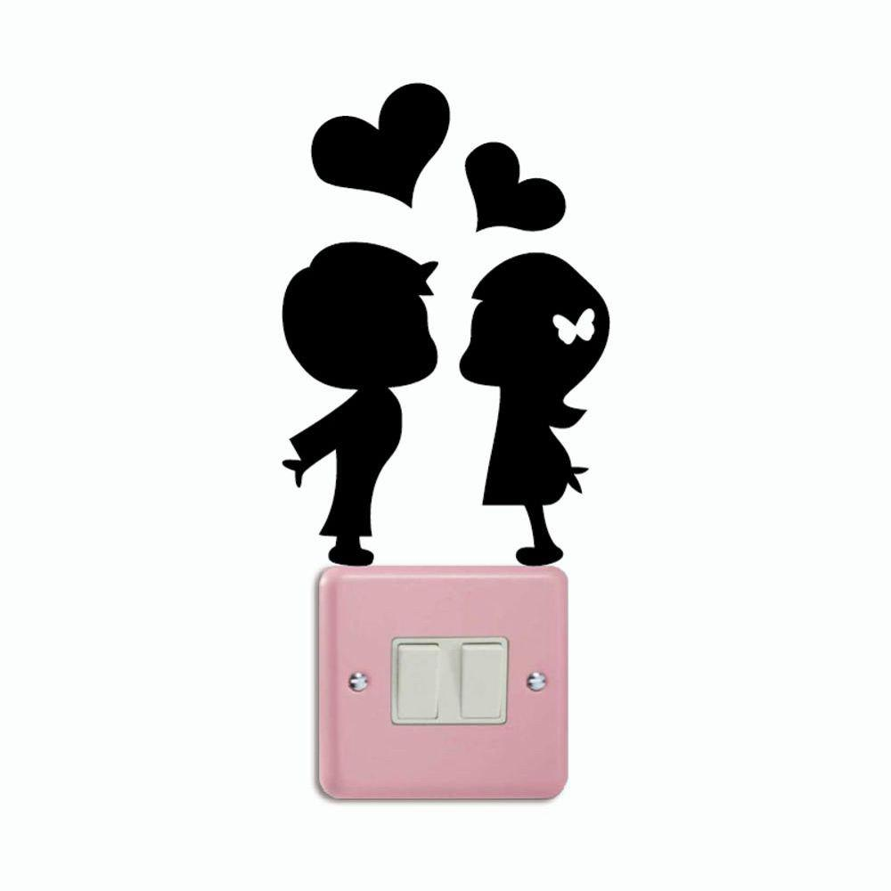 DSU Romantic Lover Light Switch Sticker Creative Cartoon Silhouette Vinyl Wall Sticker - BLACK 17.2 X 11.4 CM