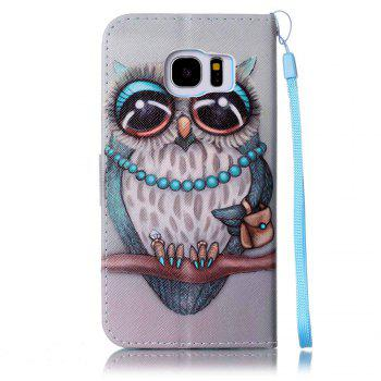 Cover Case for Samsung Galaxy S7 Edge Colourful Pattern Leather with Water Drill - BLUE / BROWN