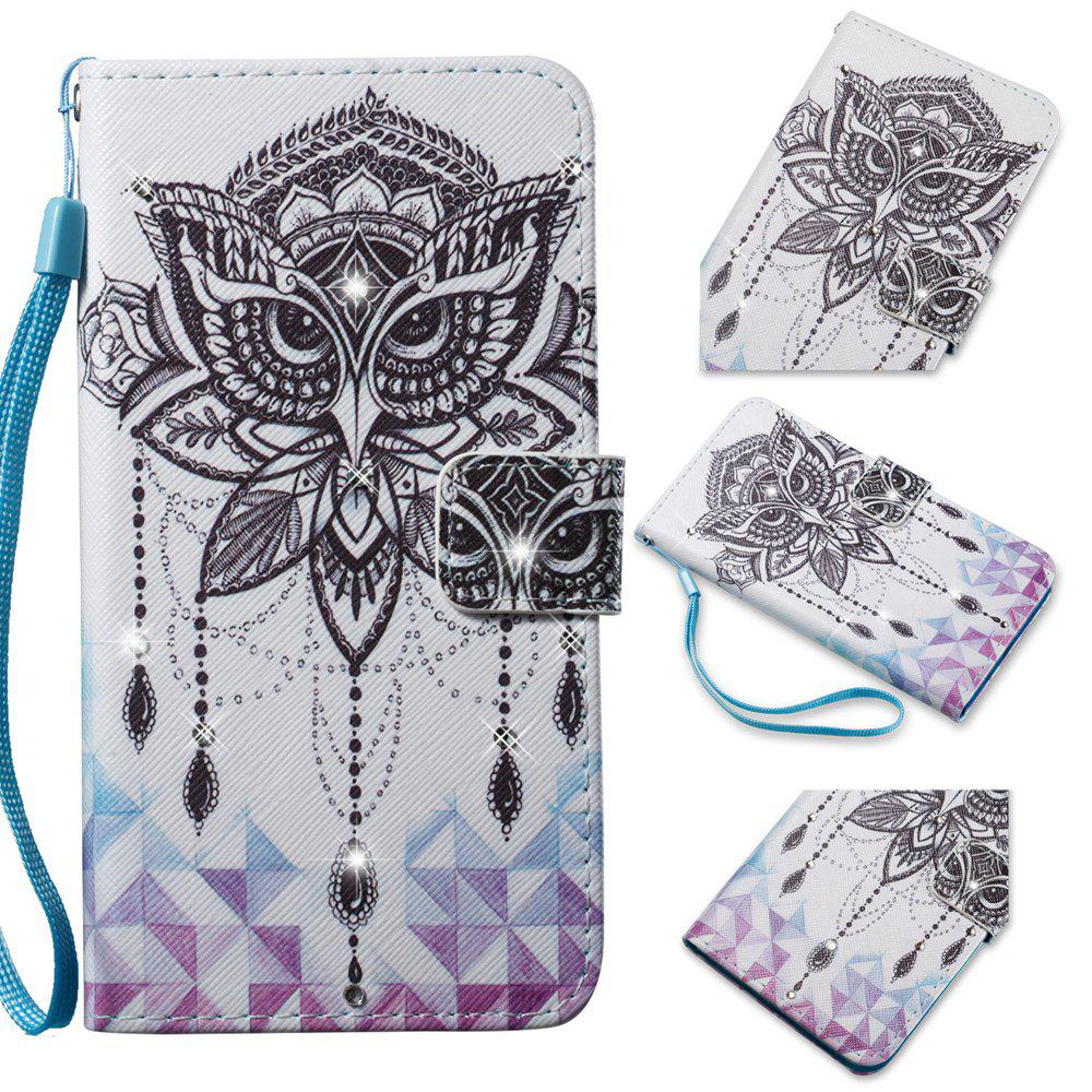 Cover Case for Samsung Galaxy S7 Edge Colourful Pattern Leather with Water Drill - WHITE/BLACK