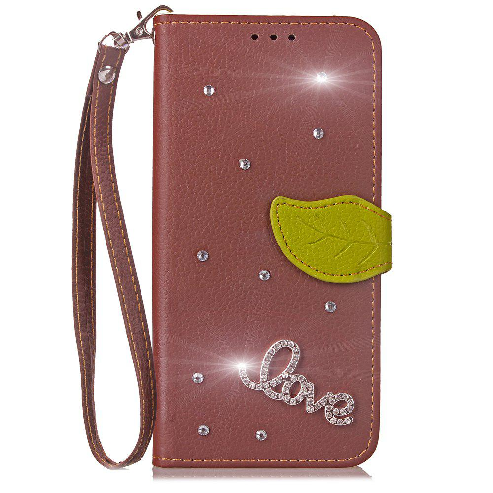 Love Leaf Stick Drill Card Lanyard Pu Leather Cover for Leagoo Kiicaa Power - BROWN