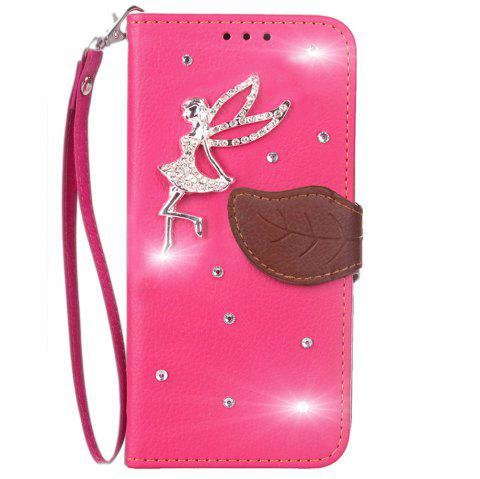 Leaf Stick Drill Card Lanyard Pu Leather Cover for Leagoo Kiicaa Power - ROSE RED