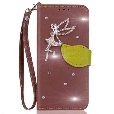 Leaf Stick Drill Card Lanyard Pu Leather Cover for Leagoo Kiicaa Power - BROWN