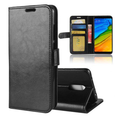 Durable Crazy Horse Pattern Back Buckle Flip PU Leather Wallet Case for Xiaomi Redmi 5 - BLACK