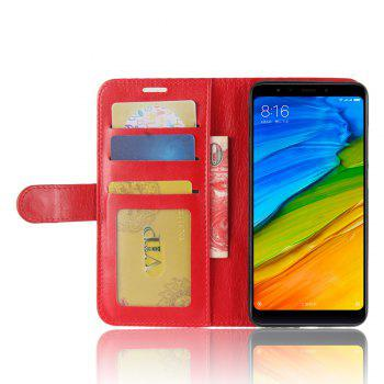 Durable Crazy Horse Pattern Back Buckle Flip PU Leather Wallet Case for Xiaomi Redmi 5 - RED