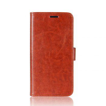 Durable Crazy Horse Pattern Back Buckle Flip PU Leather Wallet Case for Xiaomi Redmi 5 - BROWN