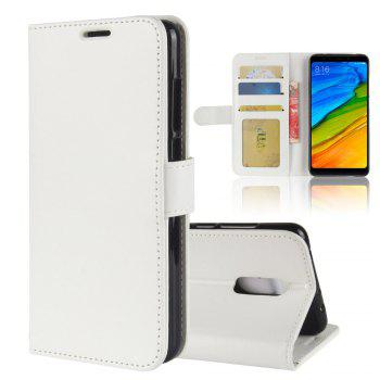 Durable Crazy Horse Pattern Back Buckle Flip PU Leather Wallet Case for Xiaomi Redmi 5 - WHITE WHITE
