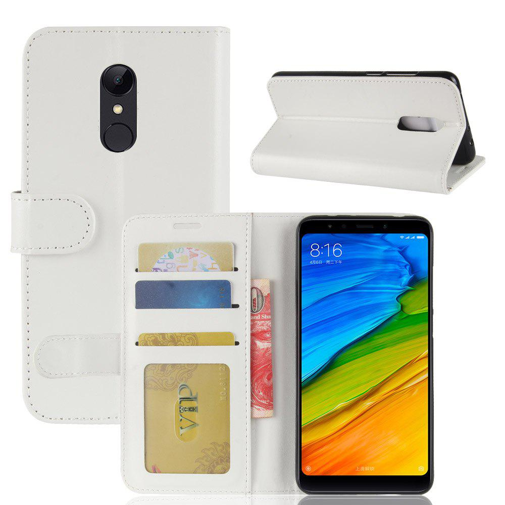 Durable Crazy Horse Pattern Back Buckle Flip PU Leather Wallet Case for Xiaomi Redmi 5 - WHITE