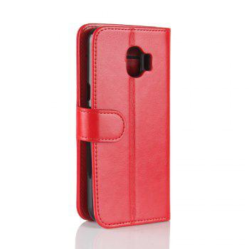Durable Crazy Horse Pattern Back Buckle Flip PU Leather Wallet Case for Samsung Galaxy J2 Pro (2018 Edition) -  RED