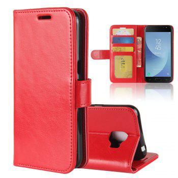 Durable Crazy Horse Pattern Back Buckle Flip PU Leather Wallet Case for Samsung Galaxy J2 Pro (2018 Edition) - RED RED