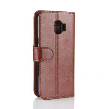 Durable Crazy Horse Pattern Back Buckle Flip PU Leather Wallet Case for Samsung Galaxy J2 Pro (2018 Edition) -  BROWN