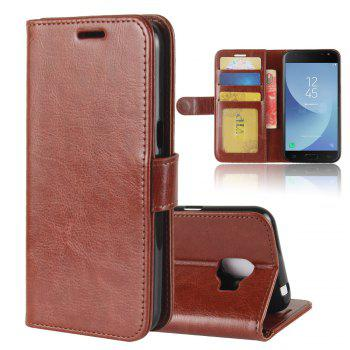 Durable Crazy Horse Pattern Back Buckle Flip PU Leather Wallet Case for Samsung Galaxy J2 Pro (2018 Edition) - BROWN BROWN