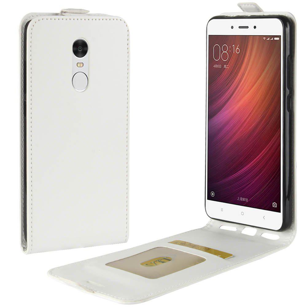 Durable Crazy Horse Pattern Up and Down Style Flip Buckle PU Leather Case for Xiaomi Redmi Note 4 - WHITE