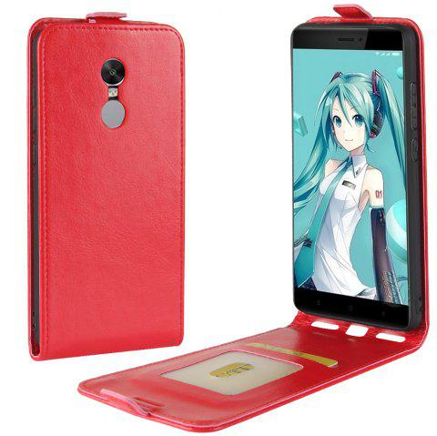 Durable Crazy Horse Pattern Up and Down Style Flip Buckle PU Leather Case for Xiaomi Redmi Note 4X - RED