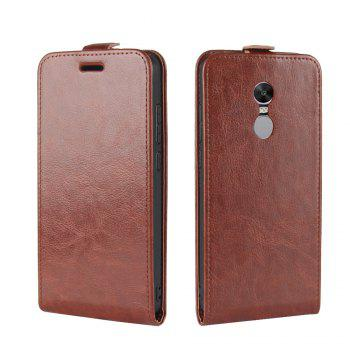 Durable Crazy Horse Pattern Up and Down Style Flip Buckle PU Leather Case for Xiaomi Redmi Note 4X - BROWN