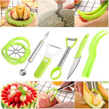 6-in-1 Fruit Carving Tool Set - Watermelon Slicer Melon Baller Scoop Fruit Carver Apple Corer Peeler Knife - GREEN