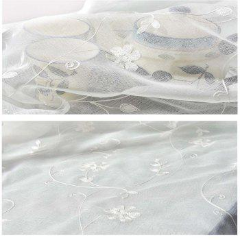 High Grade Embroidered Window Yarn Pastoral White Gauze - WHITE WHITE