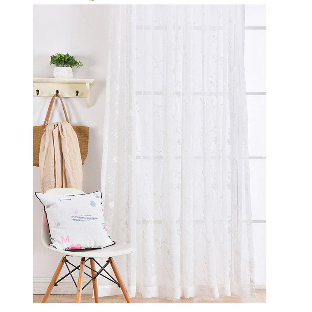 High Grade Embroidered Window Yarn Pastoral White Gauze 140cmx265cm - WHITE 140CMX255CM