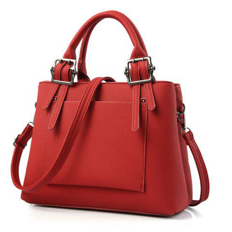 Women's Handbag Fresh Style Solid Color Zipper Fashion Bag - WINE RED
