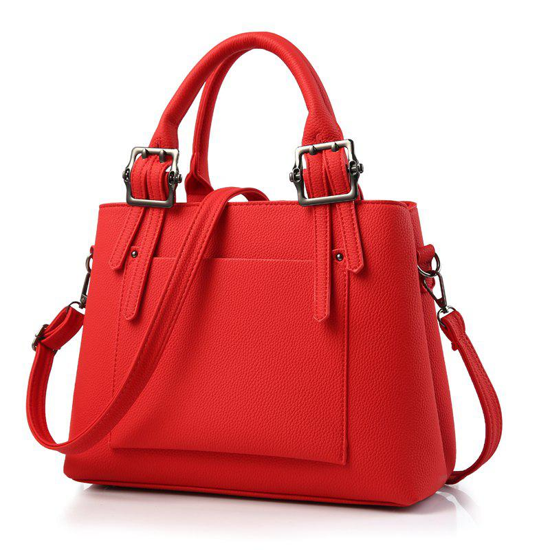 Women's Handbag Fresh Style Solid Color Zipper Fashion Bag - RED