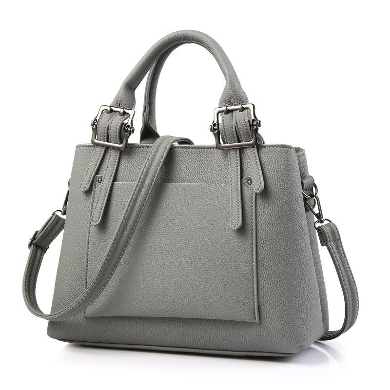 Women's Handbag Fresh Style Solid Color Zipper Fashion Bag - DEEP GRAY