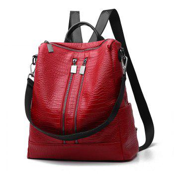 Women's Backpack Fashion Solid Color Zipper Casual Backpack - WINE RED WINE RED
