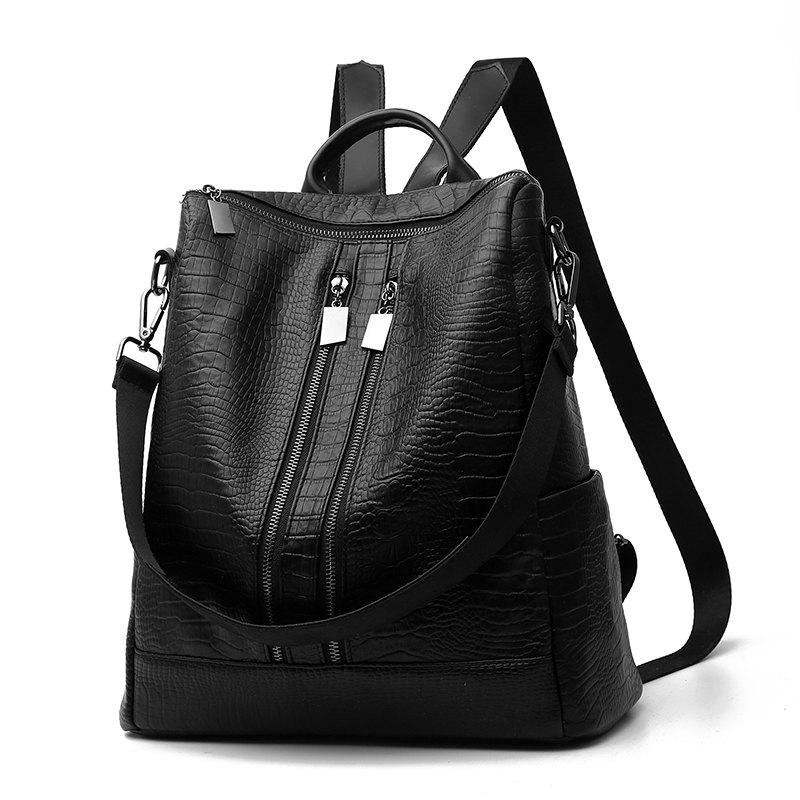 Women's Backpack Fashion Solid Color Zipper Casual Backpack - BLACK