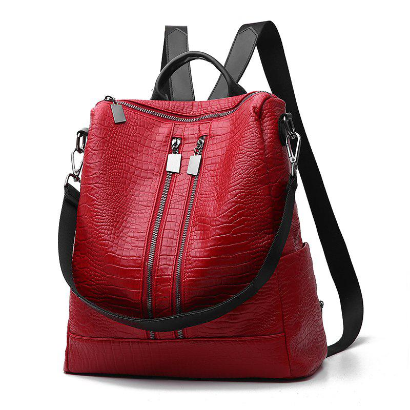 Women's Backpack Fashion Solid Color Zipper Casual Backpack - WINE RED