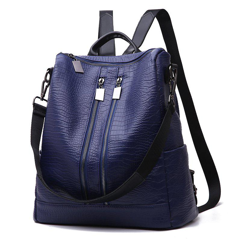 Women's Backpack Fashion Solid Color Zipper Casual Backpack - DEEP BLUE