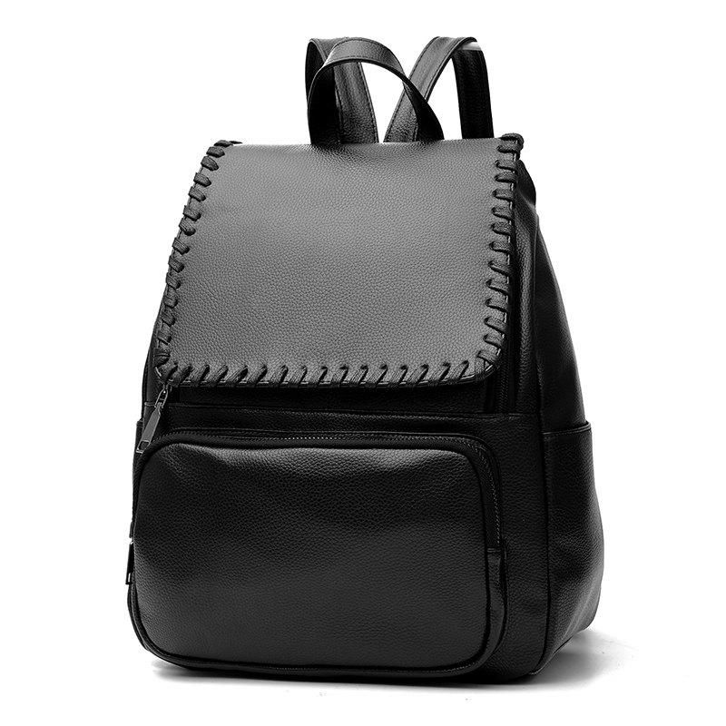 Women's Backpack Simple Style Solid Fashionable Casual Bag - BLACK