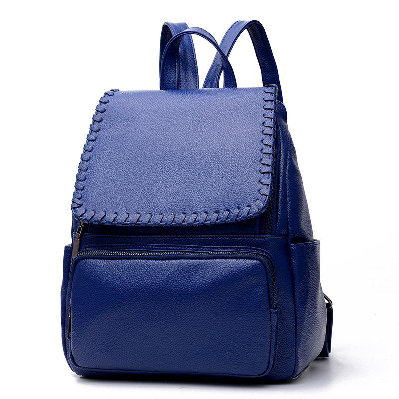 Women's Backpack Simple Style Solid Fashionable Casual Bag - DEEP BLUE
