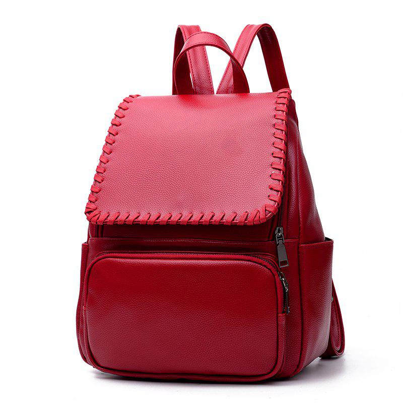 Women's Backpack Simple Style Solid Fashionable Casual Bag - WINE RED
