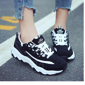 2018 New Style Fashion Round Toe Pure Color Antiskid Rubber Sole Sports Shoes - BLACK 38
