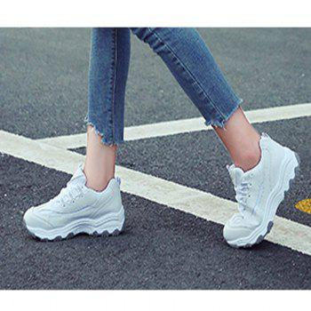 2018 New Style Fashion Round Toe Pure Color Antiskid Rubber Sole Sports Shoes - WHITE 37