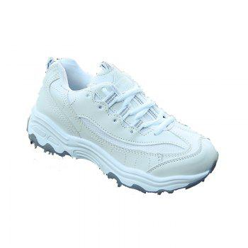2018 New Style Fashion Round Toe Pure Color Antiskid Rubber Sole Sports Shoes - WHITE WHITE