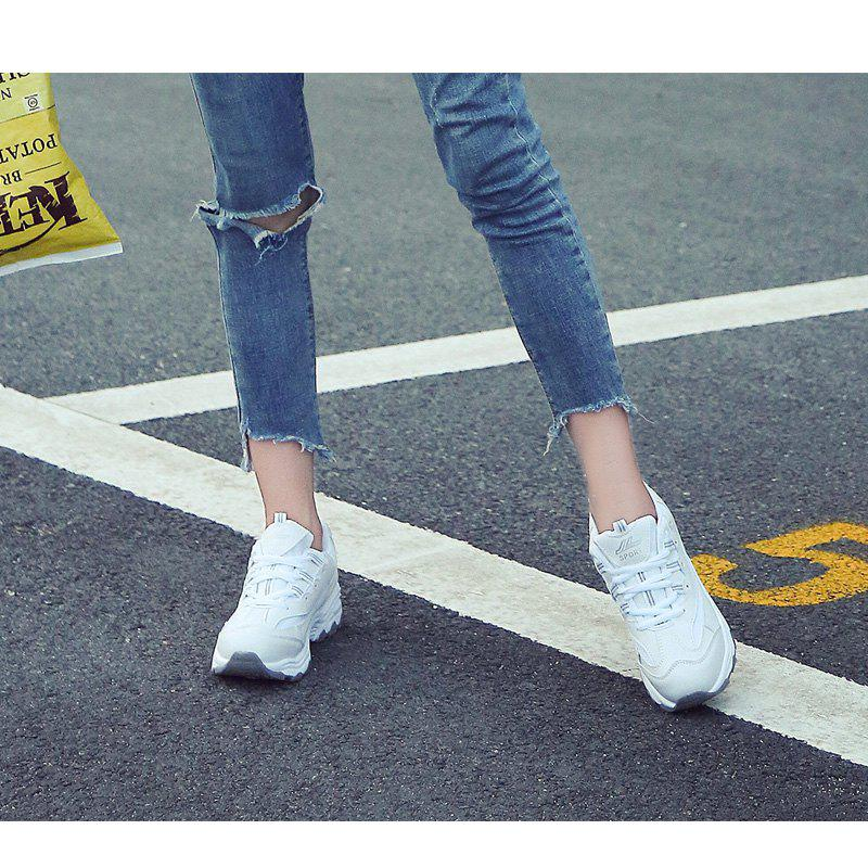 2018 New Style Fashion Round Toe Pure Color Antiskid Rubber Sole Sports Shoes - WHITE 35